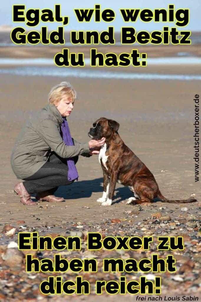 Eine Frau streichelt ihren Boxer am Strand